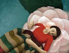 Dormendo sul Fiore (Sleeping on the Flower) by Daria Petrilli. ~via Daria Petrilli, FB Daria, Digital Artwork, Surrealist, Surreal Art, Illustration, Art Studies, Art, Art Website, Christian Schloe
