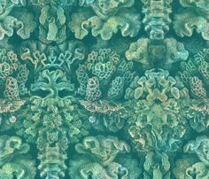 Haeckel Aquatica ~ Coral ~ Watermark  fabric by peacoquettedesigns on Spoonflower - custom fabric