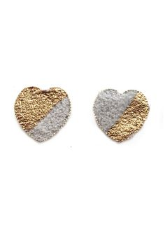 These little stud earrings are made with concrete in a silver plated earring setting and embellished by hand with gold leaf.    Earrings measure approx 1.5cm in diameter.   Gold Concrete Hearts by Workshop Studio & Boutique. Accessories - Jewelry - Earrings - Studs Ottawa, Canada