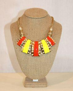 Orange/Yellow Statement Necklace by Violet Clover