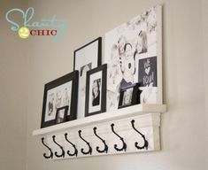 I like the idea of a picture shelf and hooks for the wall by the front door.