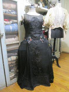 Antique Vintage Ribbonwork Corset Lace Black Flapper Dress Robe De Style Pannier