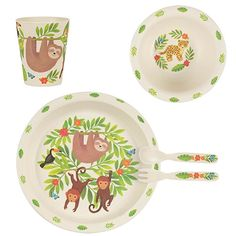 Sass & Belle Sloth and Friends Bamboo Tableware Set - great dinner time set for babies Breakfast Set, Breakfast For Kids, Baby Leopard, Sass & Belle, Forks And Spoons, Quirky Gifts, Gabel, Dinner Sets, Dinner Table