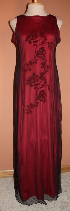 Vintage Red and Black Maxi Party Dress by by ilovevintagestuff, $16.00