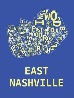 """Hunter's East Nashville poster - Frame using 11""""x14"""" and slightly trim or use a mat with a 16""""x 20""""."""