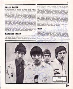 The Who – Original von PETE TOWNSHEND, ROGER DALTREY, JOHN ENTWISTLE und KEITH MOON!!!! signiertes, uraltes italienisches Magazinfoto aus den 60er Jahren. Top-Rarität! www.starcollector.de