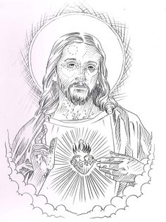 Holy Tattoos, Body Art Tattoos, Sleeve Tattoos, Jesus Christ Drawing, Jesus Drawings, Jesus Tattoo Design, Tattoo Design Drawings, Face Stencils, Tattoo Stencils