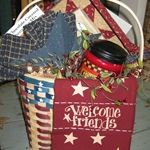 Americana Gift Basket The Red Brick Cottage is a Louisville Kentucky Farmhouse & Primitive gift shop offering country home accessories. Primitive Homes, Country Primitive, Primitive Decor, Raffle Baskets, Gift Baskets, Brick Cottage, Home Decor Baskets, Decorating Bookshelves, Country Style Homes