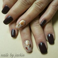 Young nails gel  Dark brown nails with fall leaves nail art Nails by jackie