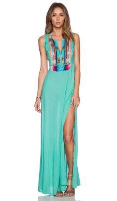 Shoshanna Rainbow Fringe Maxi Dress in Spearmint