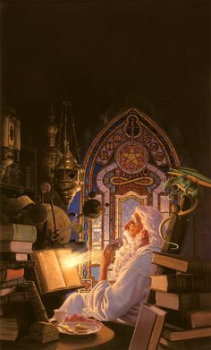 The Wizard's Study - Illustration by Keith Parkinson | Fantasy Concept Wizard…