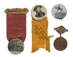 Four Custer-Related Medals and Pinbacks, (American History Auction / June George Custer, George Armstrong, United States Military Academy, Union Army, June 24, Native American Indians, American History, Horns, Battle