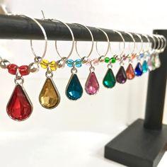 Wine Glass Charms - Set of 12 Glass Wine Charms - Rivoli setting - Wine Lover Gift by pokayoka on Etsy