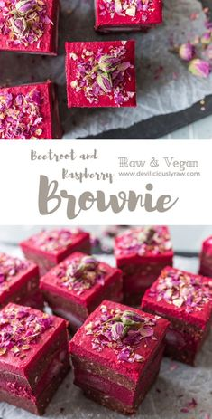 Beetroot and Raspberry Brownie Deviliciously Raw Desserts Végétaliens, Raw Vegan Desserts, Vegan Dessert Recipes, Vegan Treats, Raw Food Recipes, Sweet Recipes, Delicious Desserts, Raw Vegan Cheesecake, Recipe For Raw Food