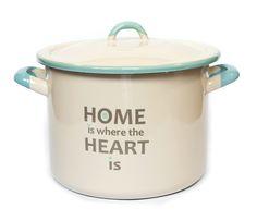 Pastelowa propozycja do Twojej kuchni. Garnek emaliowany z designerskim napisem. Tylko u nas! #dekoracje #kuchnia #wystrój #retro #vintage #home #love #gotowanie