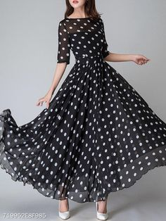 9cc6beda0601 Round Neck Ruffled Hem Printed Maxi Dress - berrylook.com Afslappet Kjoler