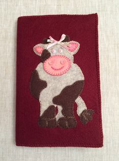 Cute Handmade Felt Notepad Cow Notepad,Notepad Holder,Cow Notebook,Padfolio…