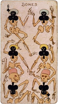 Dancing bones six of clubs playing card, ca. 1875 by trialsanderrors, via Flickr