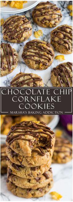 Chocolate Chip Cornflake Cookies   marshasbakingaddiction.com @marshasbakeblog