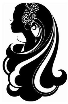 silhouette of a woman's head with long hair - Google Search