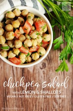 Chickpea Salad with Lemon and Shallots is packed with protein, simple to make, keeps well in the fridge, is great served cold, and makes a perfect lunch! vegan / gluten free / soy free / nut free via @frieddandelions