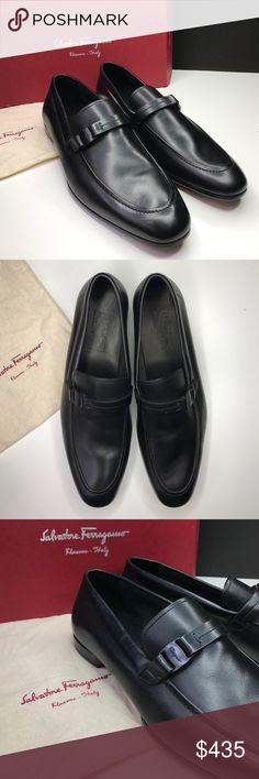 Salvatore Ferragamo Men Loafers Known for impeccable craftsmanship and classic styles this Ferragamo loafer is hand crafted from authentic Italian calfskin leather, it features a signature wooden bit and a double sole. Very comfortable and elegant, perfect for business meetings and life events.  || New, never worn, with dust bag, no box || Salvatore Ferragamo Shoes Loafers & Slip-Ons