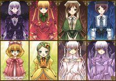 Right to left : suigintou, shinku, suiseiseki, souseiseki, hinaichigo, kanaria, kirakishou/barasuishou The Rozen Maidens