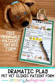 Grab this free printable patient intake form to add to your dramatic play pet vet area in the classroom or at home!  #dramaticplay #petvet #petclinic #preschool #kindergarten
