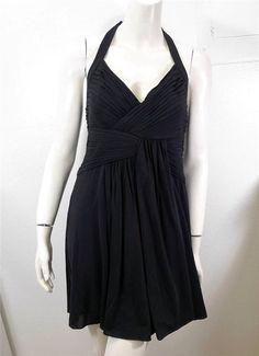 WOMEN BCBG MAX AZRIA MAXAZRIA pleated halter dress size L black #BCBGMAXAZRIA #Cocktail