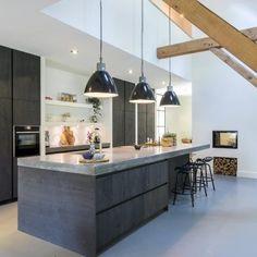 Modern kitchen island walnut effect concrete slab top pendant lighting