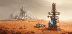 Personal Painting  - Mars station, Alexey Shugurov on ArtStation at https://www.artstation.com/artwork/yDazJ