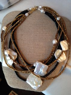 Amazing shaped freshwater pearls with onyx and hematitie