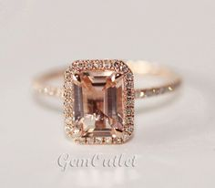 $380   HALO 6x8mm Emerald Cut Morganite Ring 14K Rose Gold 0.26ctw Diamond Claw Prongs Wedding Ring/Promise Ring/Anniversary Ring Band