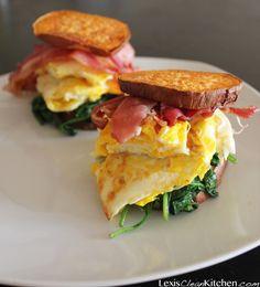 "Paleo Breakfast Sandwiches - the ""bun"" is a sweet potato"