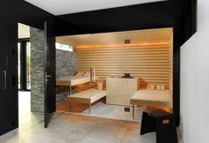 Prestige Saunas offer unique design features for your sauna or steam room. Sauna Seca, Sauna Steam Room, Sauna Design, Outdoor Sauna, Wooden Room, Spa Rooms, Diy Bathroom Decor, Bathroom Ideas, Home Spa