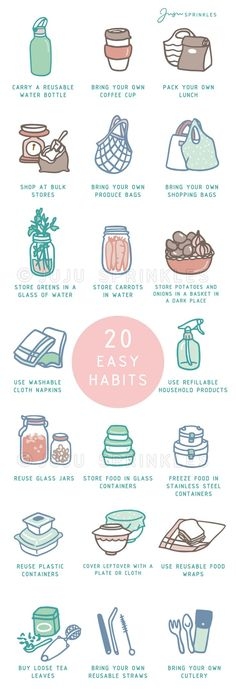 20 Easy Ways To Break Your Plastic Habit - Sustainable Living - 20 Easy Ways To Break Your Plastic Habit. Low Waste Living Informations About 20 Easy Ways To Break - Vie Simple, Nachhaltiges Design, Reduce Reuse Recycle, Upcycle, Clean Living, Sustainable Living, Sustainable Ideas, Sustainable Products, Zero Waste