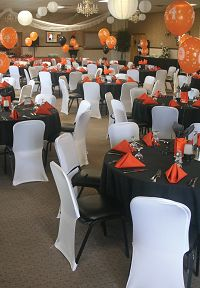 Offsite Inspirations class reunion orange black and white.. banquet room