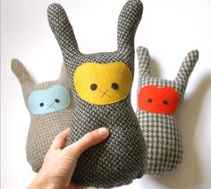Bunny soft toy - handmade woolen bunny plush toy - by IndigoInkSpot on madeit