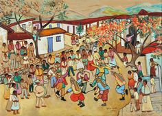 Zèlie Lardé|1901-1974| Salvadoran Sin título|1968  Óleo sobre madera|59 x 80cm|Colección privada