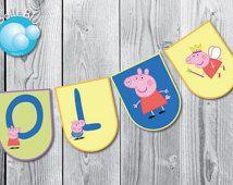 Peppa Pig or George Pig Flags Banner Digital Custom Printable Birthday ...