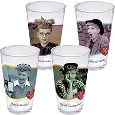 NEW I Love Lucy Set of 4 Pint Glasses - Lucille Ball Kitchen Drinking Glass Set I want these!
