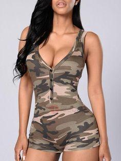 #AdoreWe #TideBuy TideBuy Camouflage Printed Zipper Gallus Rompers - AdoreWe.com