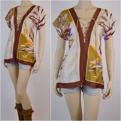 handmade SILK lace up SCARF blouse Tunic from Vintage scarves ooak Festival shirt One of a kind top