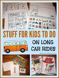 A giant set of road trip activities and free printables for kids ages 2-8 to keep them busy on a long drive #AlamoDriveHappy #ad