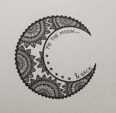 i love you to the moon and back // mandala moon art zentangle doode Henna Tatoos, Henna Tattoo Designs, Henna Art, Cool Tattoos, Henna Designs Back, Design Tattoos, Mehandi Designs, Wrist Tattoos, Tattos