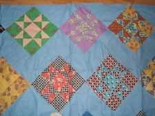 Vintage Antique 1930s FEEDSACK FABRIC STAR Cotton QUILT TOP 80x74