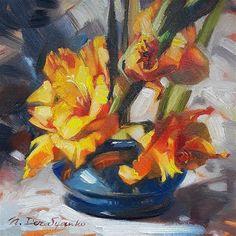 "Daily Paintworks - ""Gold gladiolus"" - Original Fine Art for Sale - © Natali Derevyanko"