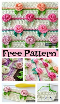 Pretty Crochet Rosebud Stitch – Free Pattern #freecrochetpatterns #crochetflowers #rose