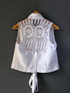 White Crochet Sleveless Blouse - 1970. $35.00, via Etsy.