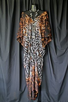 Animal Print Full Length Kaftan by MollyKaftans on Etsy, $79.00